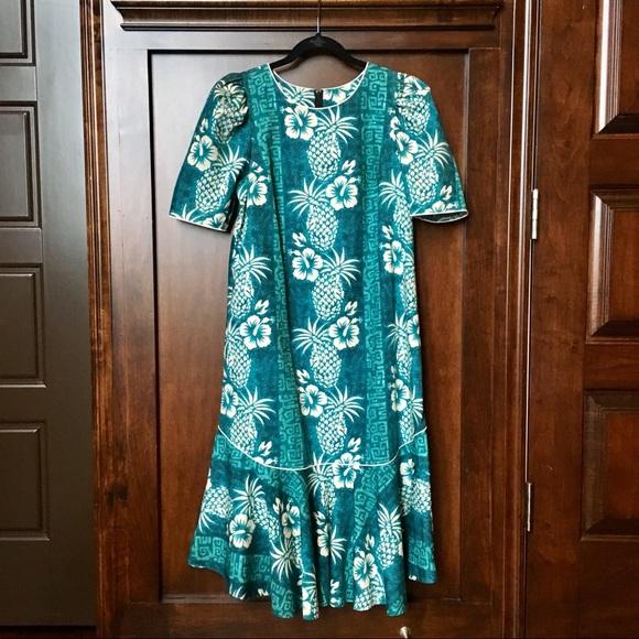 b1fbf17f9b7a Vintage Royal Creations Hawaiian Maxi Dress Blue M.  M_5b15ac90f63eea51c98d7603